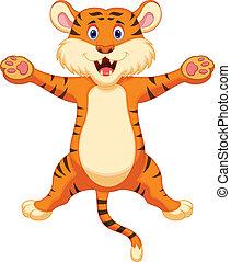 feliz, tiger, caricatura