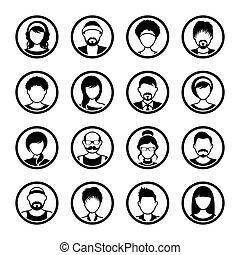 femininas, ícones, vetorial, avatar, círculo, macho