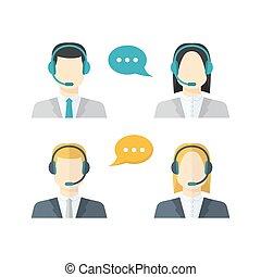 femininas, fala, centro, cor, chamada, macho, apartamento, bolhas, telemarketing, jogo, avatars, conceitual, headset, ícones, cliente, estilo, serviços, comunicação negócio
