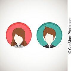 femininas, macho, icons.