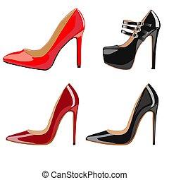 femininas, sapatos, calcanhares, jogo, ilustração, na moda