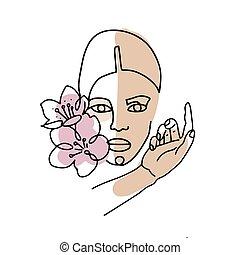 femininas, stains., isolado, vetorial, mão, linear, mulher, style., white., coloridos, illustration., face abstrata, linha, flor, retrato