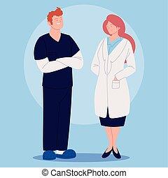 femininas, trabalhadores, doutor, cuidados de saúde, macho, enfermeira