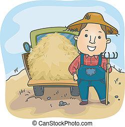 feno, caminhão, agricultor