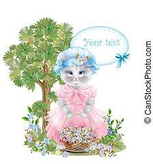 feriado, cesta, frock, vestido, congratulation., engraçado, cor-de-rosa, saudação, meadow., verão, retrato, gato, card., aniversário, cheio, flowers.