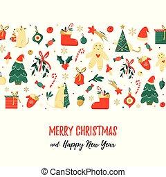 feriado, elementos, natal, fundo
