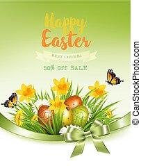 feriado, fundo, coloridos, primavera, ovos, grass., vector., flores, páscoa