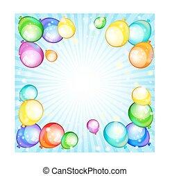 feriado, vetorial, balloons., arco íris, ilustração