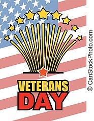 feriado, vetorial, honrando, estados, eua, fundo, unidas, americano, day., veterans, patriótico, flag., saudação, nacional, heróis, ilustração