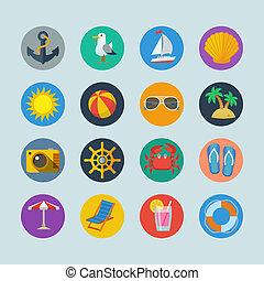 feriados verão, mar, ícones