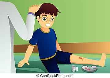 ferido, criança, ilustração, escritório, doutor