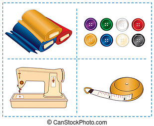 ferramentas, cores, cosendo, jóia