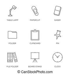 ferramentas, esboço, ícones escritório