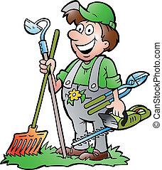 ferramentas, ficar, jardineiro
