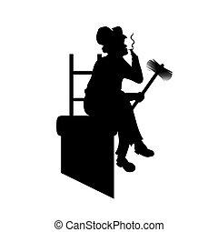 ferramentas, vetorial, trabalho, ilustração, silueta, macho, varredura, cano, smoking., chaminé, desenhistas, ter