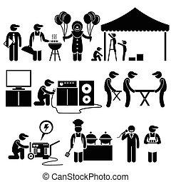 festival, partido, celebração, serviços