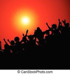 festival, torcida, silueta, evento, vermelho