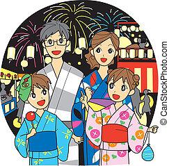 festival, verão, família