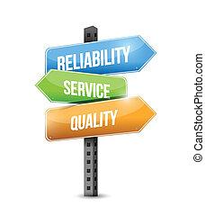 fiabilidade, qualidade, ilustração, serviço, sinal