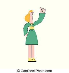 ficar, índice, mulher, mostrando, cima, ilustração, gesture., vetorial, dedo