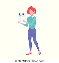 ficar, apartamento, cheio, escritório negócio, executiva, trabalhador, pose, personagem, isolado, caricatura, lista, gerente, mulher, forma, femininas, segurando, notepad, comprimento, cheque