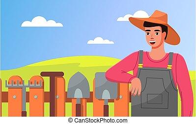 ficar, cerca, pás, jardineiro, ferramentas, closeup, ancinhos, jardim, chapéu, jovem, tools.