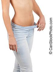 ficar, close-up, mulher, shirtless, calças brim, isolado, dieting., branca
