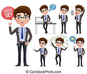 ficar, falando, negócio, thinking., set., personagem, caráteres, homem negócios, profissional, macho