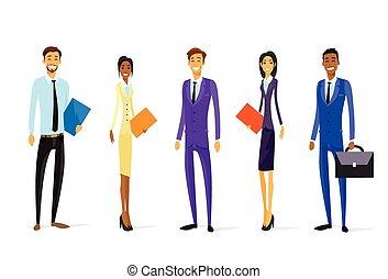 ficar, grupo, pessoas negócio, personagem, diverso, equipe, chartoon