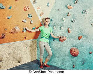 ficar, gym., mulher, sporty, escalando
