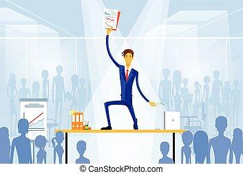 ficar, homem, documentos, negócio, escrivaninha