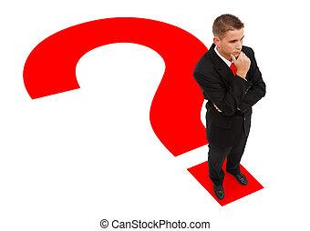 ficar, homem negócios, marca pergunta