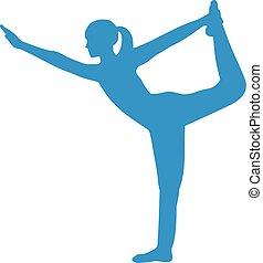 ficar, ioga, silueta, arco