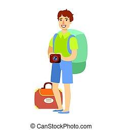 ficar, mão., seu, turista, coloridos, grande, mochila, personagem, jovem, câmera, segurando, caricatura, homem