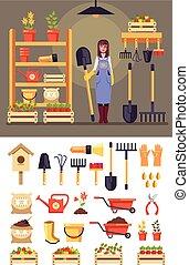 ficar, mulher feliz, jogo, jardinagem, ícone, apartamento, concept., gráfico, personagem, isolado, ilustração, vetorial, tools., desenho, sorrindo, agricultura, agricultura, caricatura, jardineiro, celeiro