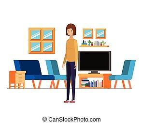 ficar, mulher, trabalho escritório, fundo, branca