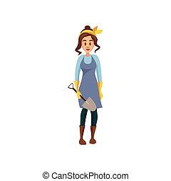 ficar, pá, trabalho, jovem, ilustração, vetorial, femininas, agricultor, caricatura, jardineiro