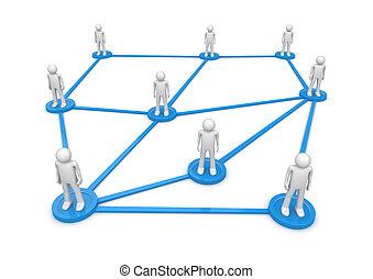 ficar, series., rede, pessoas, isolated., concept., pedestais, um, lines., conectado, caráteres, social, 1000+