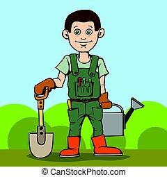ficar, tool., seu, jardim, can., aguando, pá, jardineiro, feliz