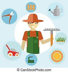 ficar, tools., activities., jardim, ícones, ambiental, jogo, jardineiros, jardinagem, seu, homem