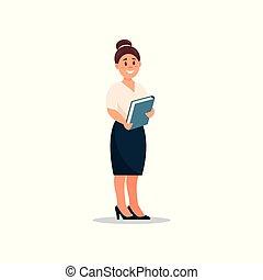 ficar, trabalhando, negócio, dela, executiva, escritório, personagem, ilustração, vetorial, mulher, pasta, mãos, caricatura, secretária