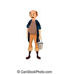 ficar, trabalho, ilustração, vetorial, balde, maduras, agricultor, macho, caricatura, jardineiro