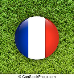field., bandeira, capim, verde, frança