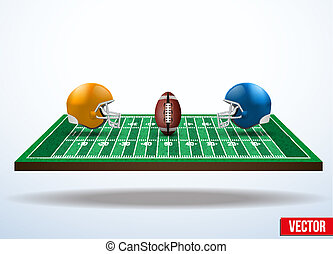 field., símbolo, jogo football, americano