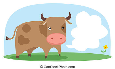 field., vetorial, vaca