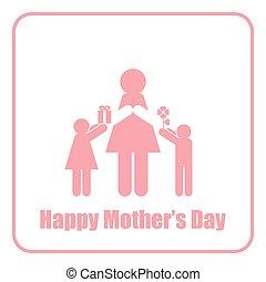 figura, mãe, crianças, vara, mãe, monocromático, dia, feliz