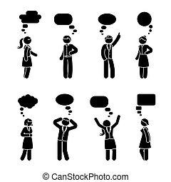 figura, par, jogo, vara, diálogo