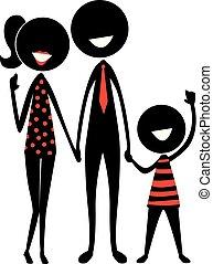 figura, silueta, vara, família