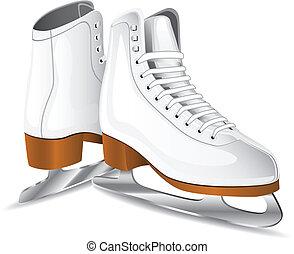 figura, vetorial, patins, branca
