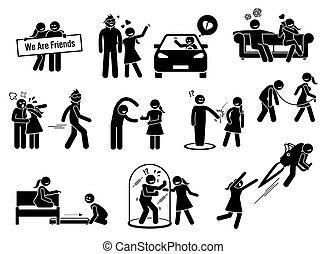 figuras, amigo, friendzone, conceito, zona, ilustrações, vara, ou, icons.